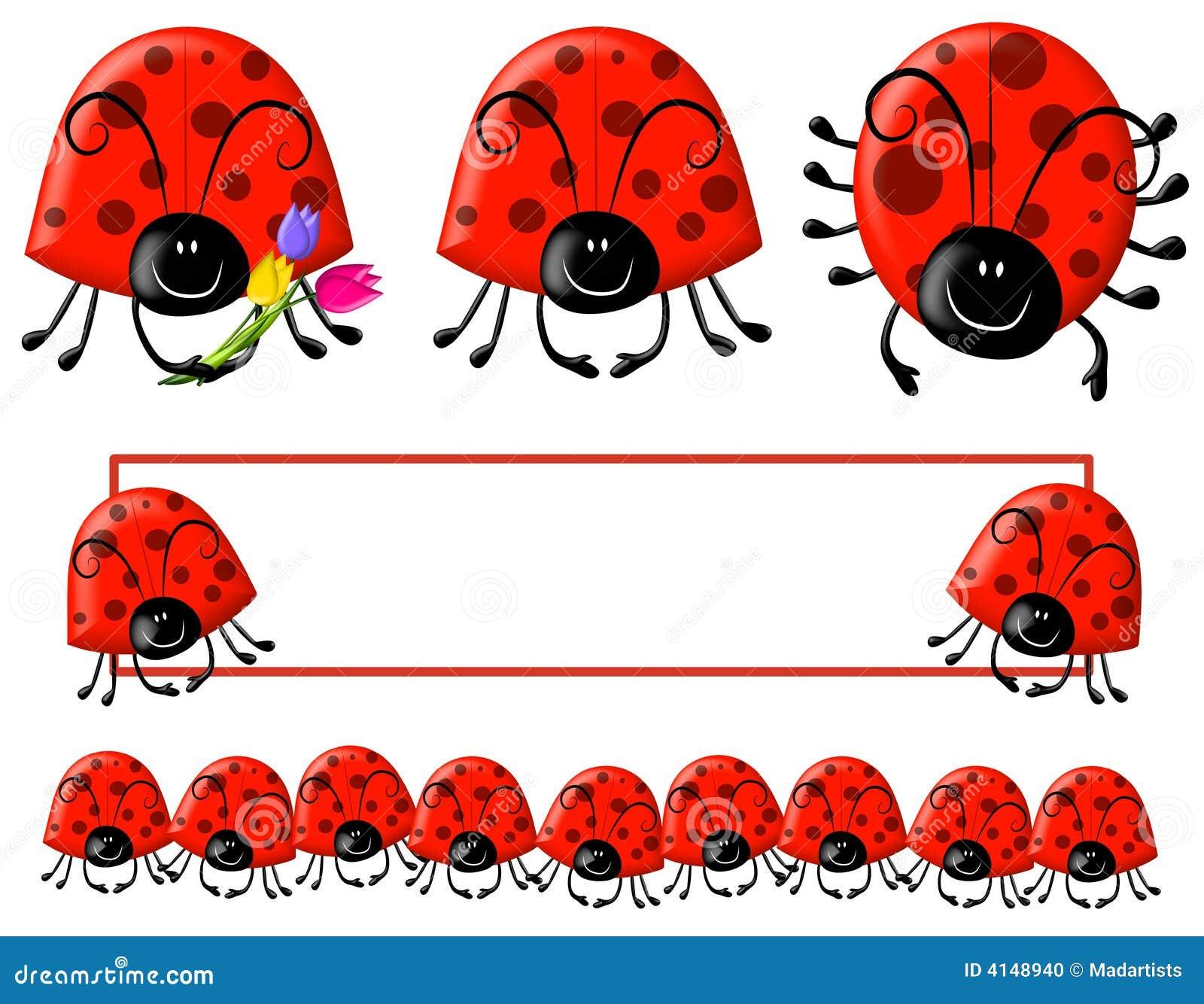 Cartoonish Ladybug Clip Art And Logo Stock Photo - Image: 4148940