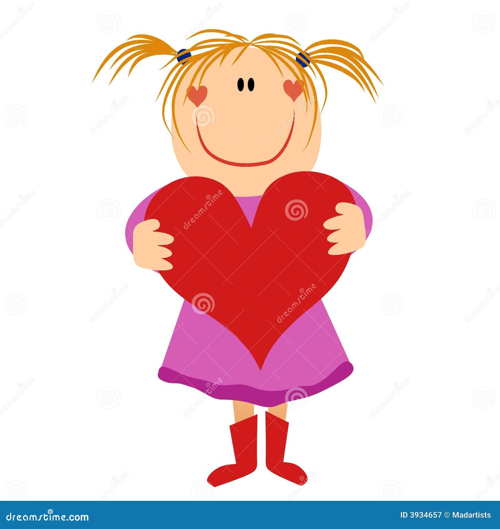 Cartoonish Little Girl Holding Valentine Heart