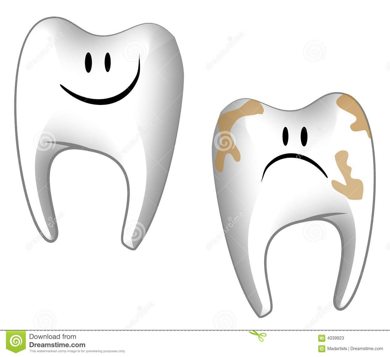 ... teeth, one smiling and healthy - the other one sad and decayed