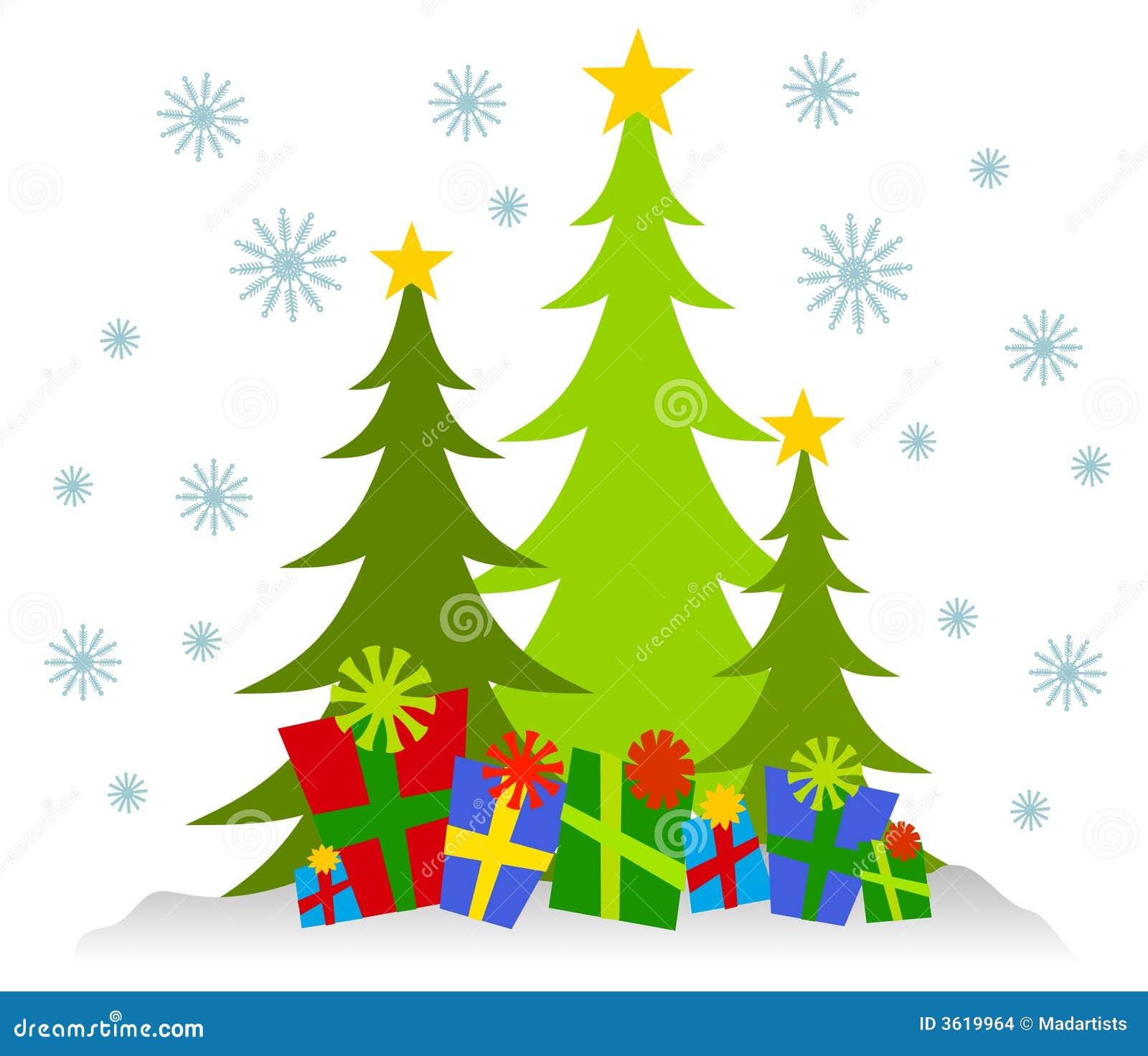 Cartoonish Weihnachtsbäume Und Geschenke Stock Abbildung ...