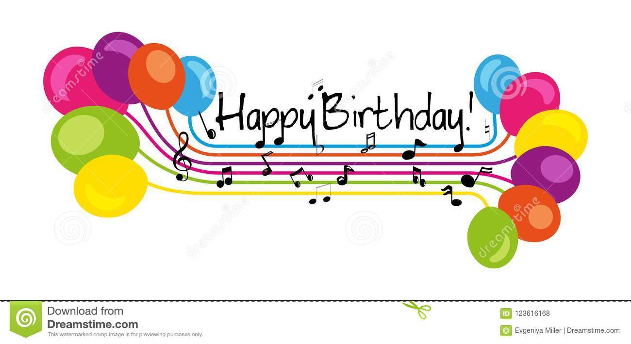 Hand Drawn Sign Happy Birthday In Music Stave Style Isolated On White Background