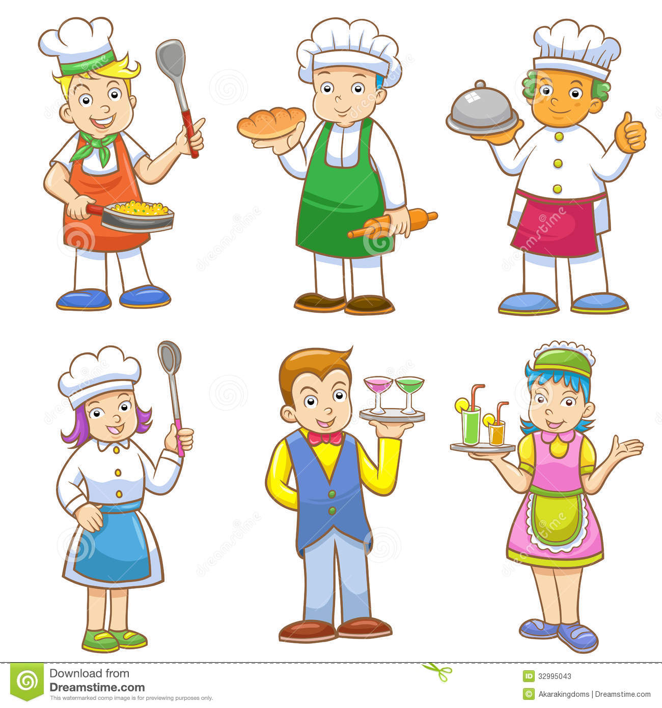 Cartoons Of Kids Chefs And Set Of Cooking Stock Vector