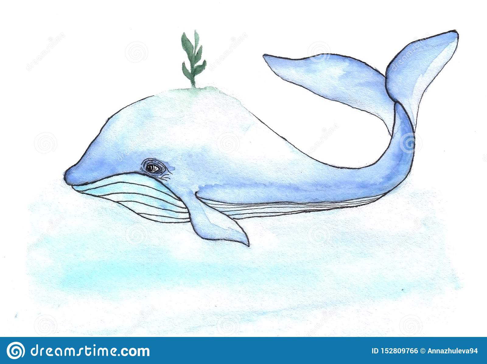 Cartoons watercolors cute whale with small book