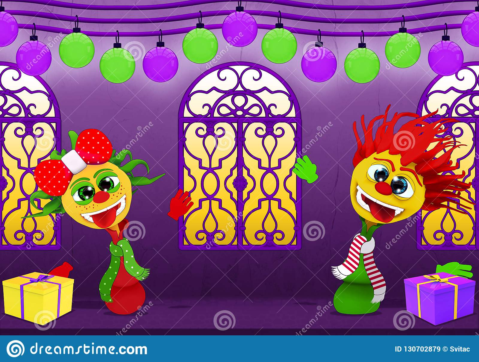 happy new year in purple and yellow cartoony boy and girl