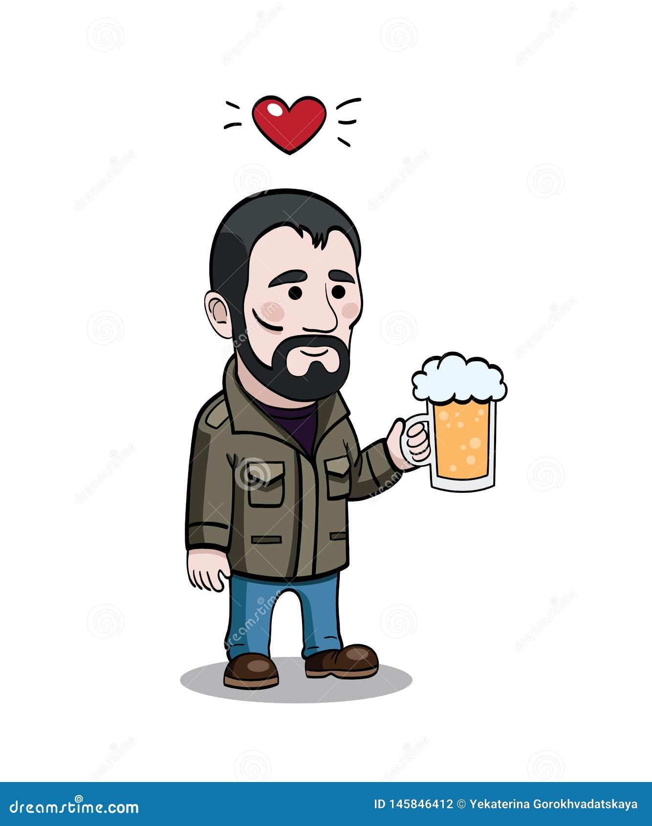 Cartoony character with beer mug