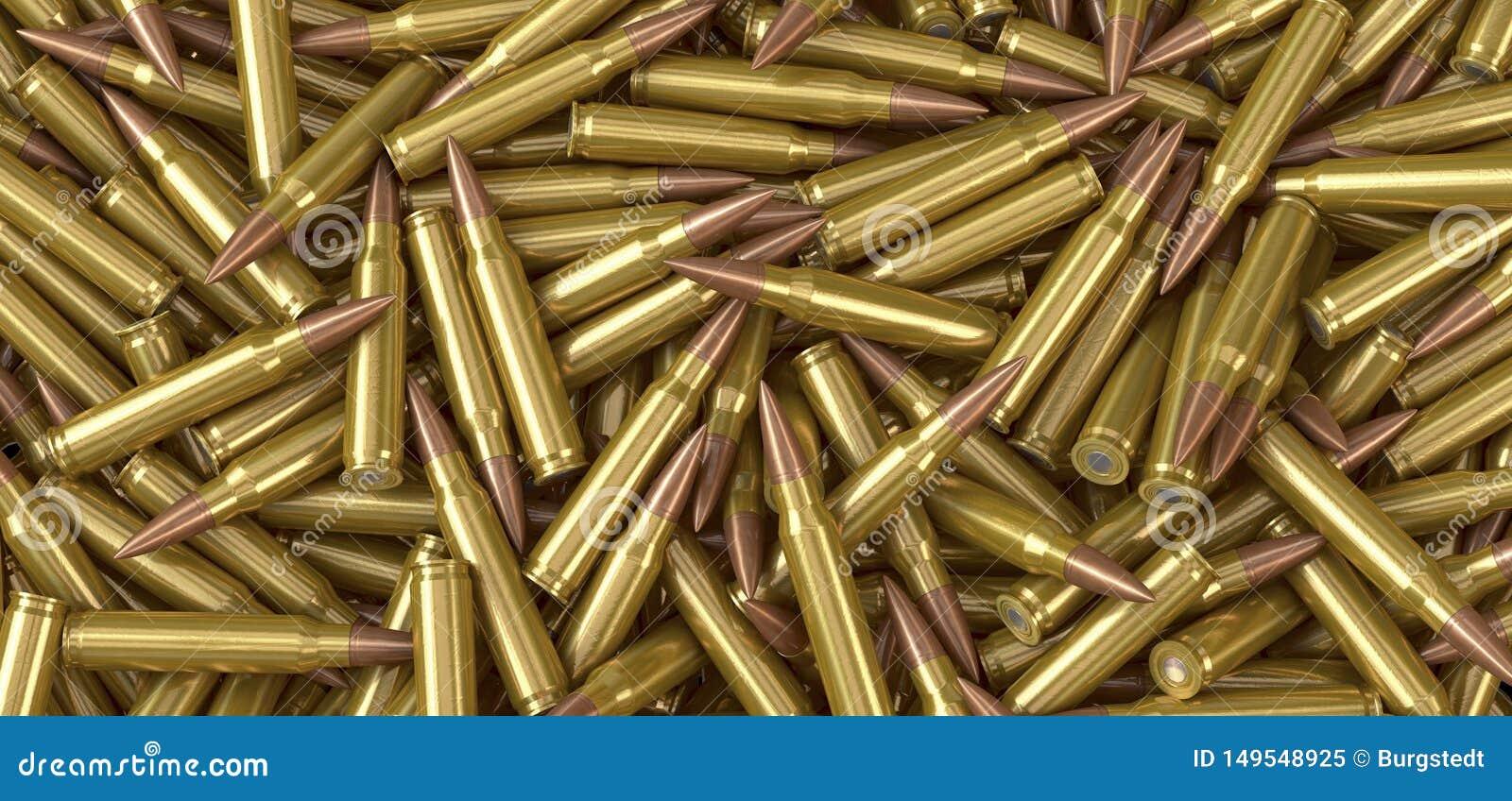 Cartouches de munitions de mitrailleuse de l OTAN se trouvant sur une pile