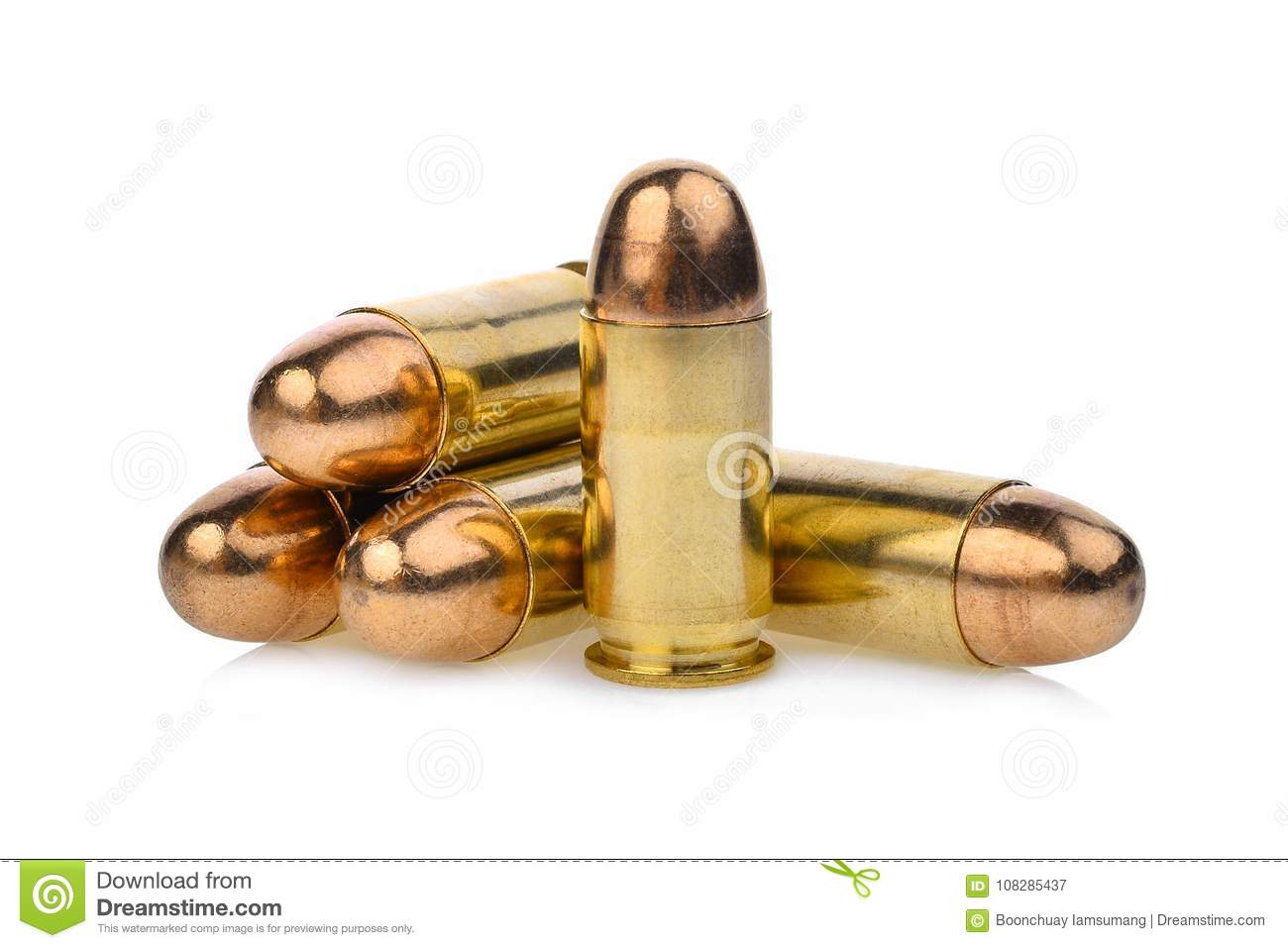 Cartridges of .45 ACP pistols ammo, full metal jacket