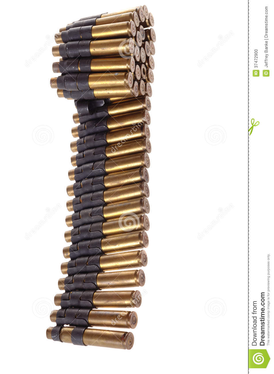 30-06 Cartridges On A Machine Gun Belt Stock Photo - Image ...