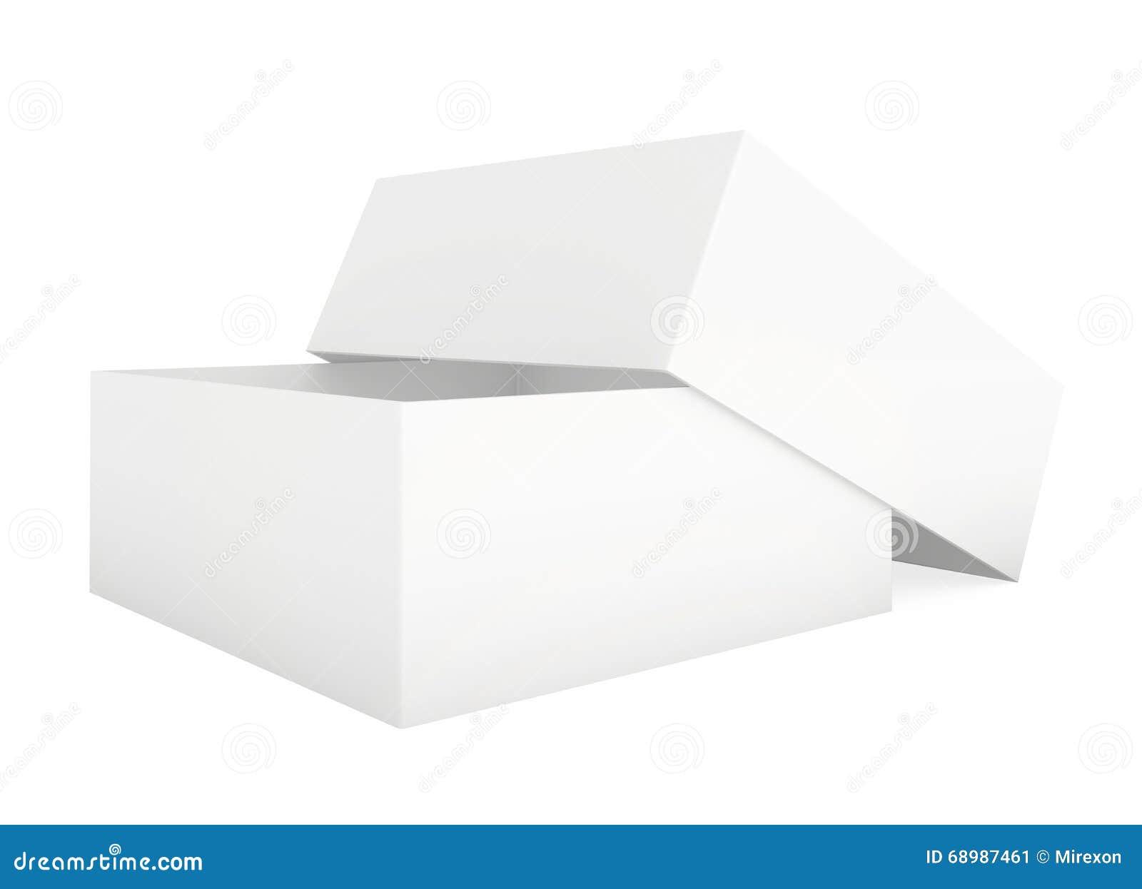 Cartulina del papel en blanco Plantilla de la caja que se coloca en el fondo blanco