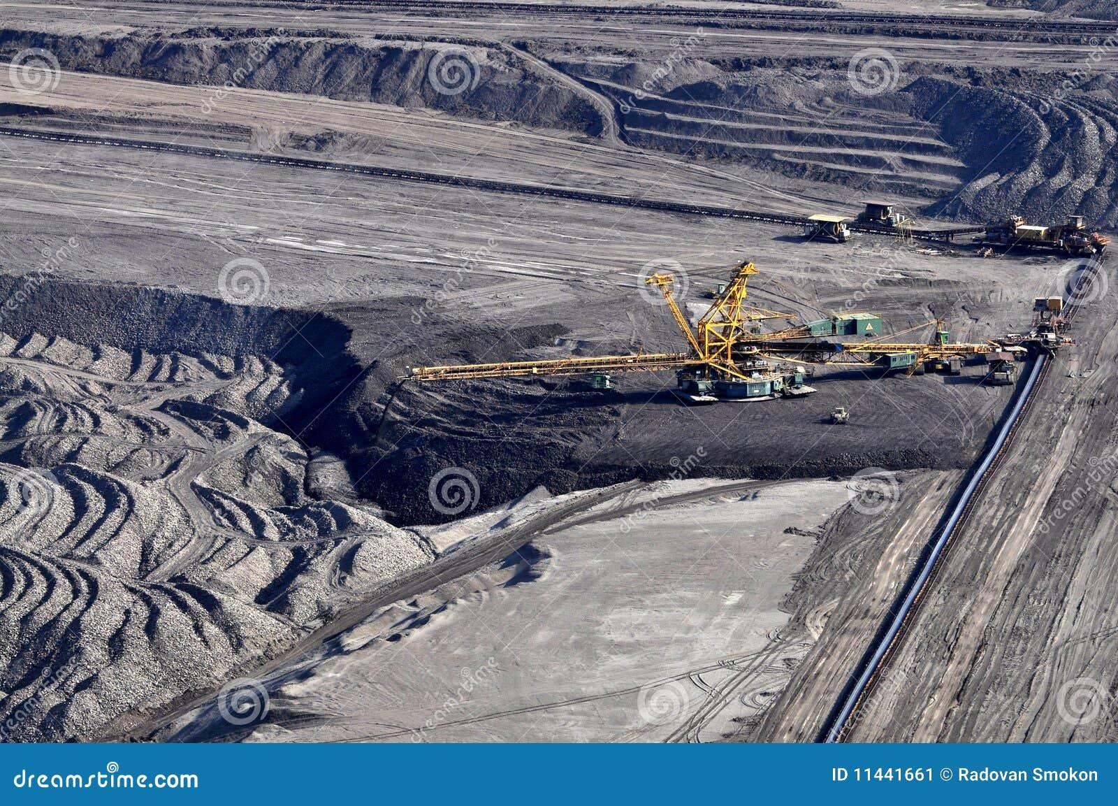 Carvão de Brown aberto - mineração do molde