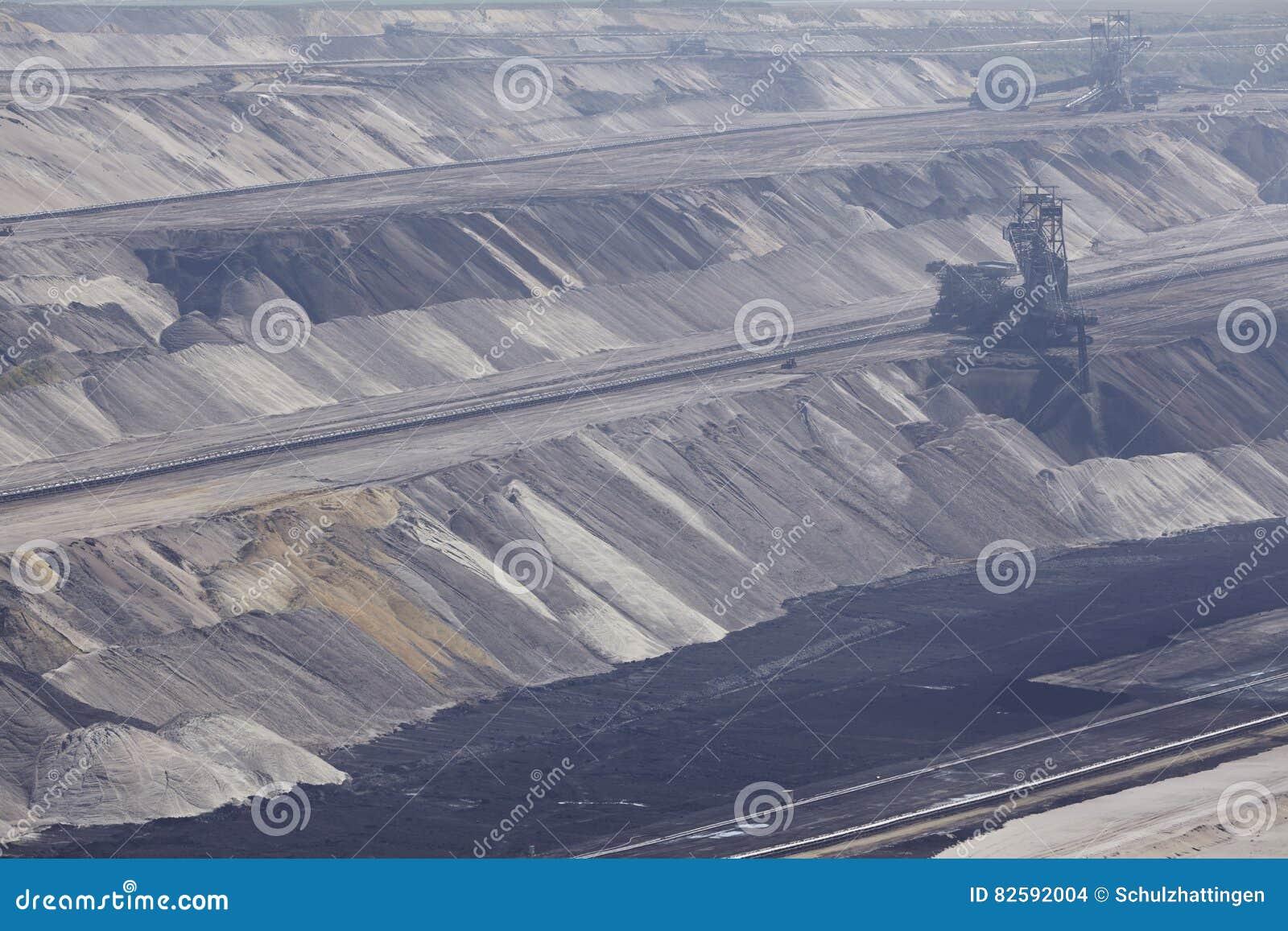 Carvão de Brown - camadas de terra na mineração opencast Garzweiler Alemanha
