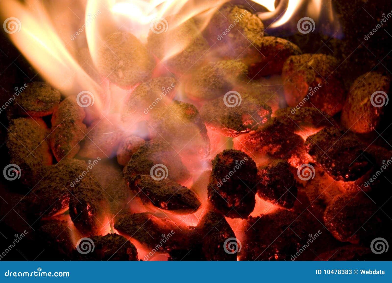 Carvões de incandescência quentes