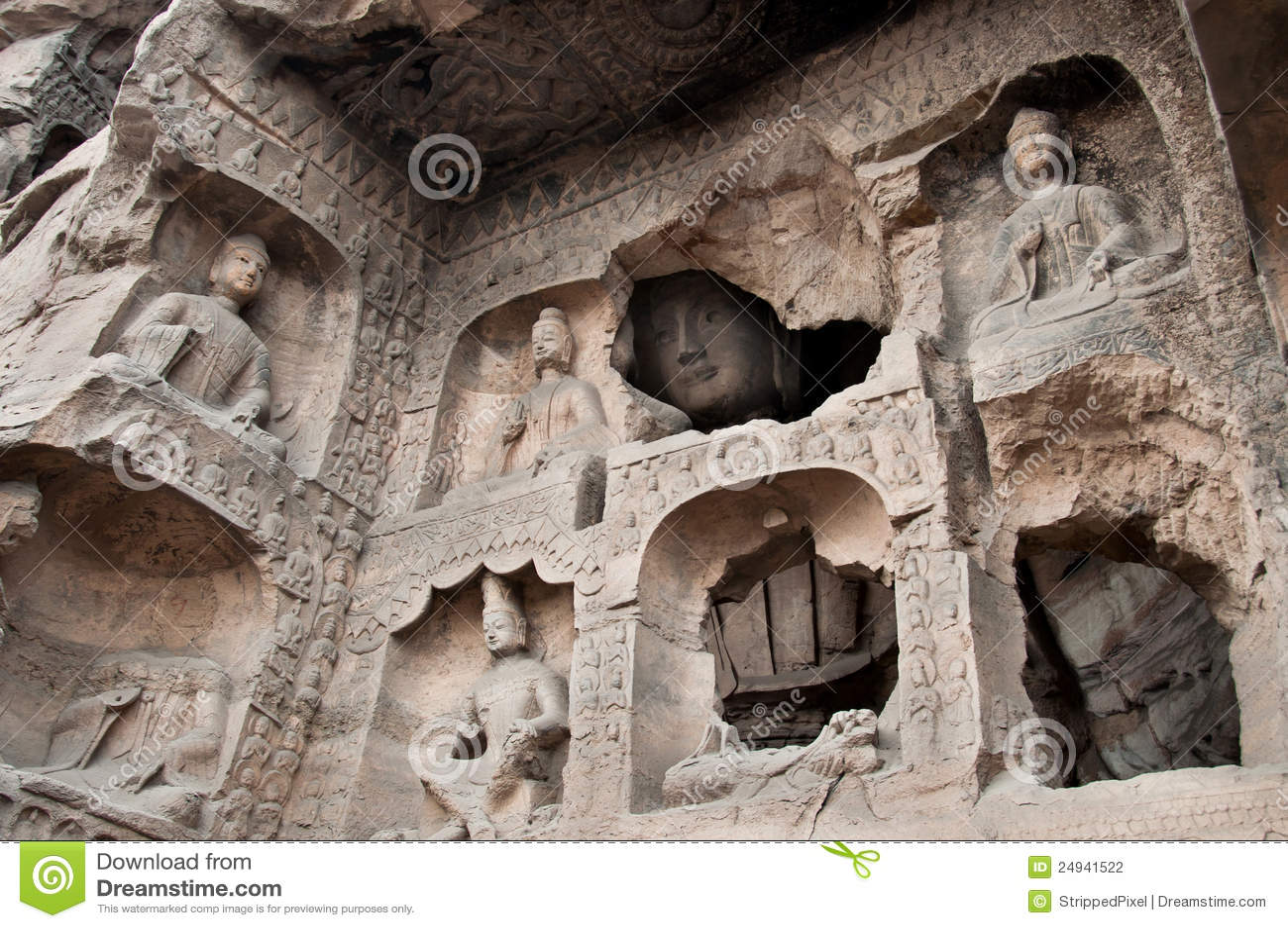 Carved buddhas at the yungang caves datong stock photo