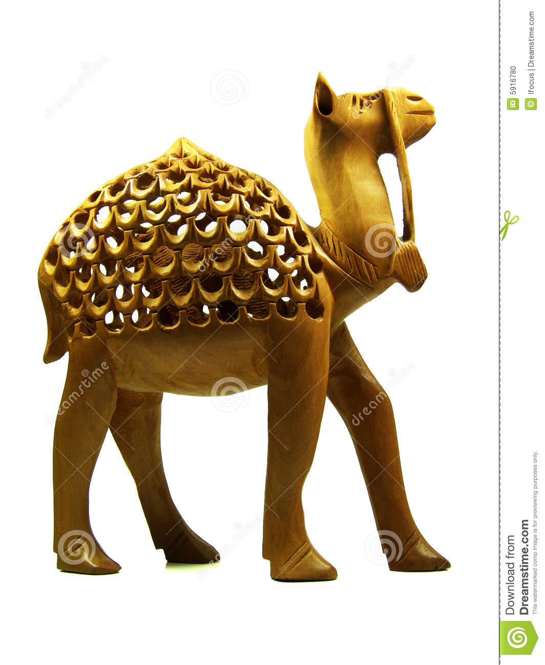 Carved camel statuette in wood