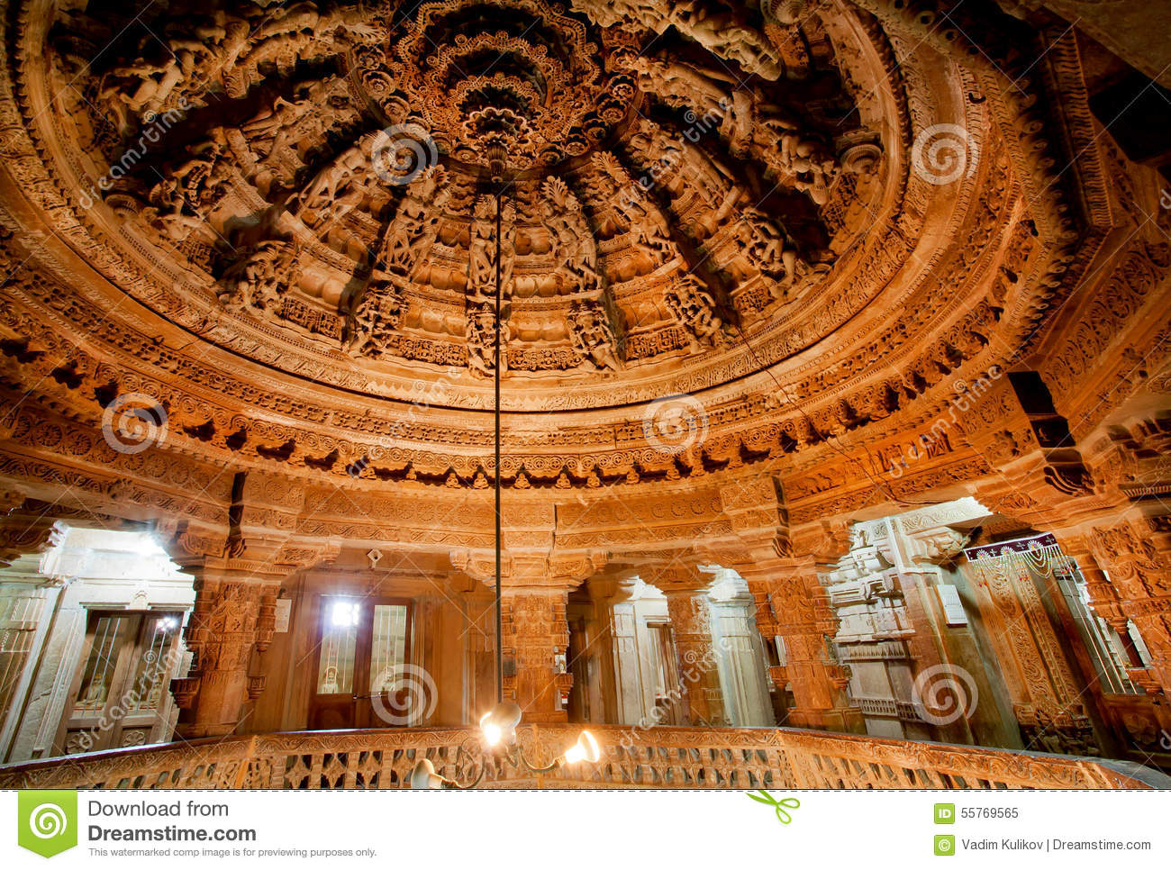 Carved Ceiling Of Jain Temples In Rajasthan Stock Photo