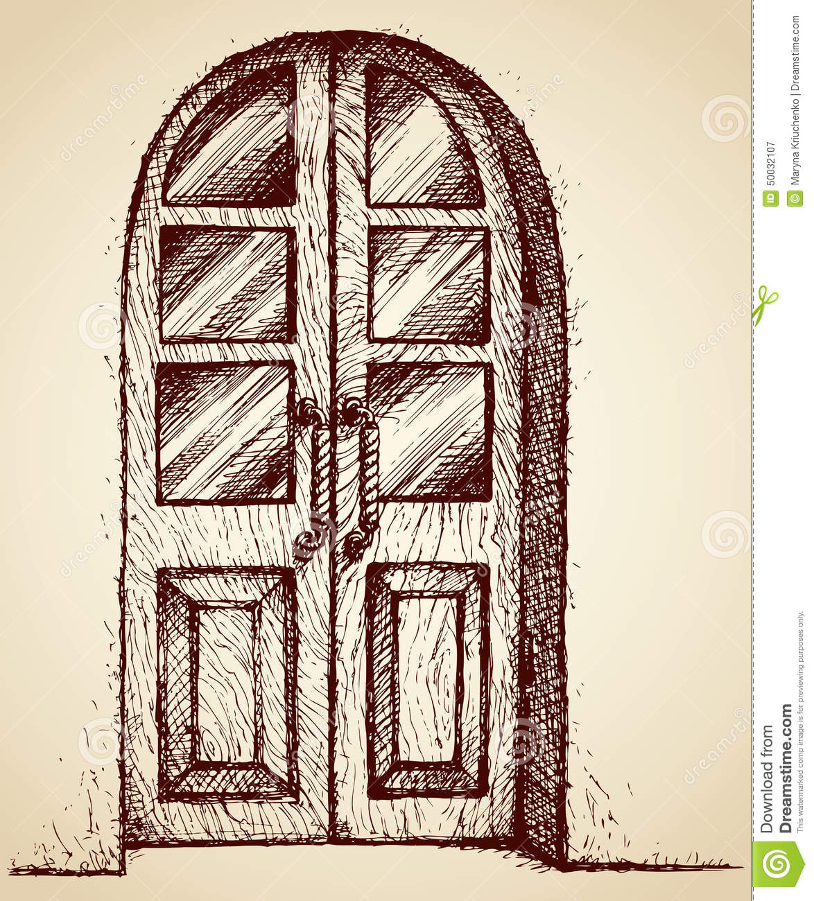 Carved Door With Glass Vector Drawing Stock Vector