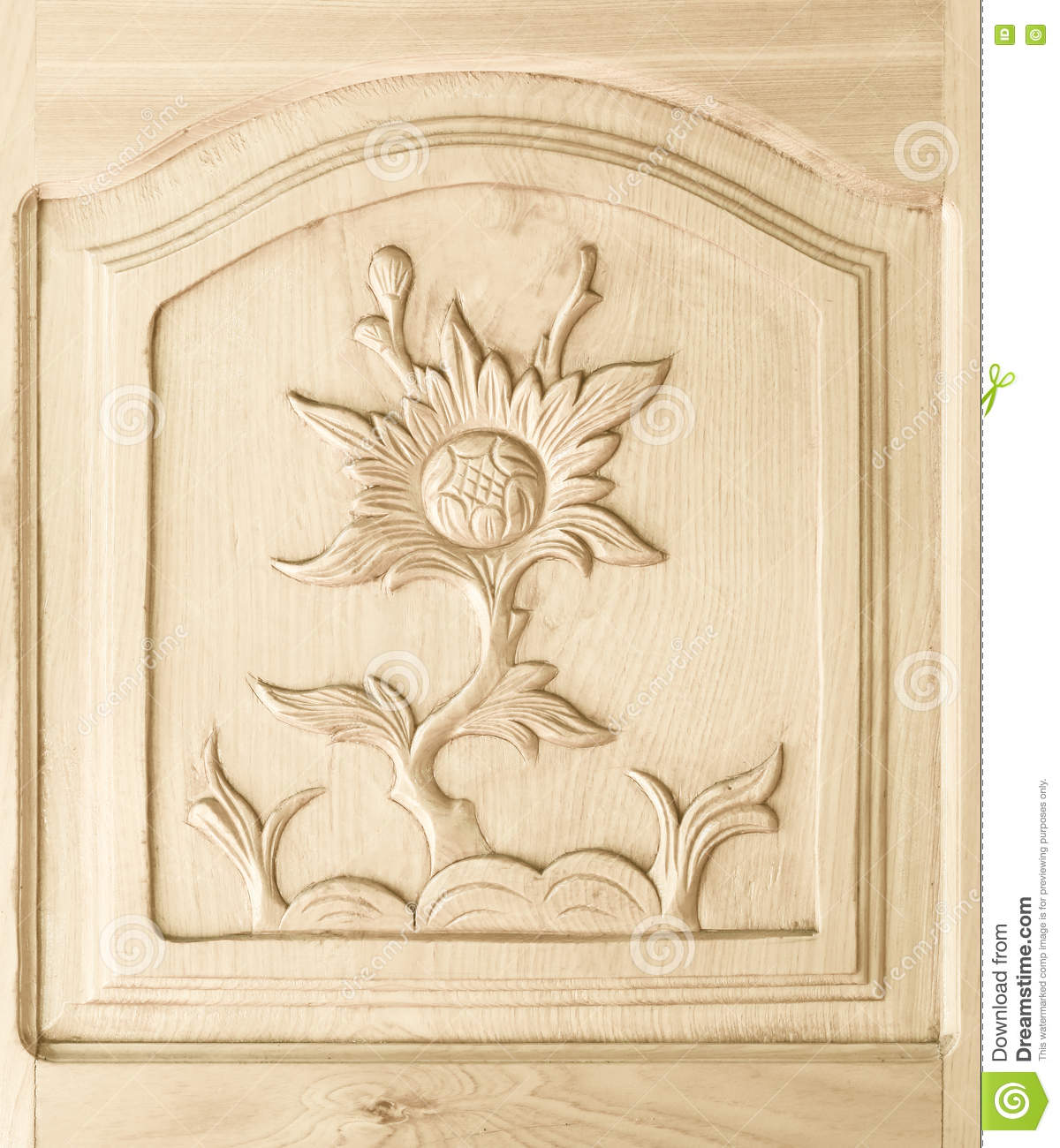 Carved of flower pattern on wooden door stock image image of board