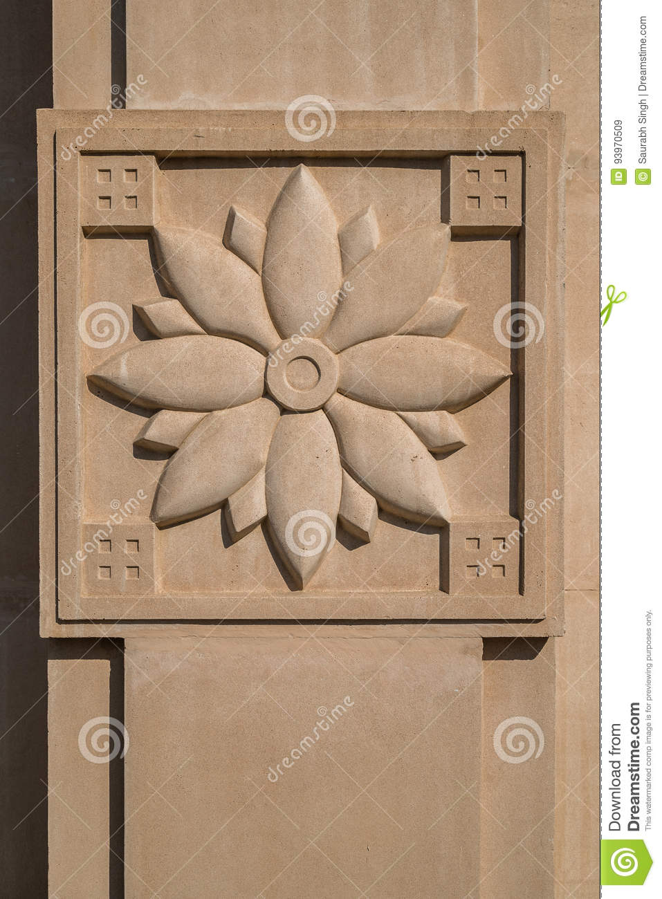 Carved flower stock image. image of styled relief picture 93970509