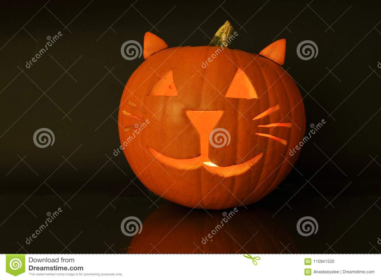 Carved Halloween Pumpkin Cat Stock Photo Image Of Single Scary 110941520
