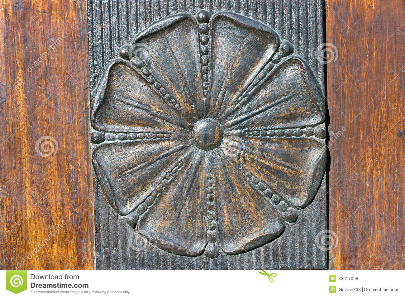 Carved iron relief flower royalty free stock photos