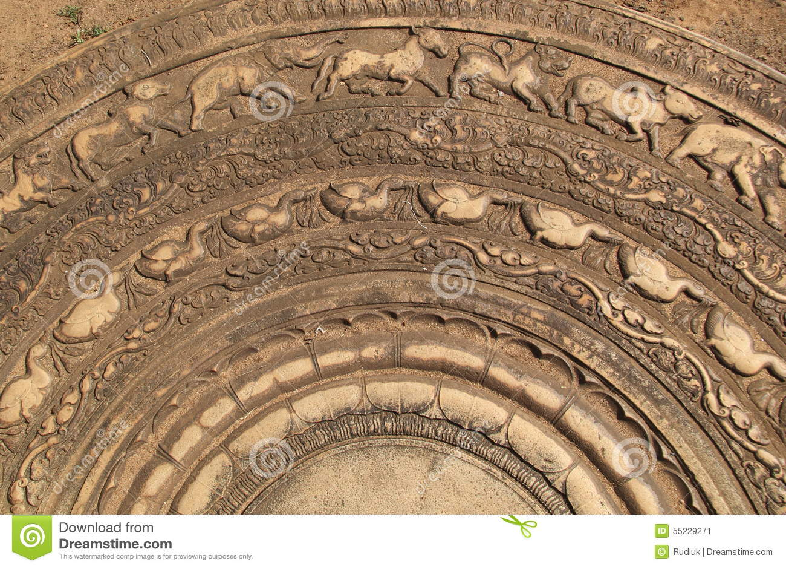 Carved moonstone in sri lanka stock image