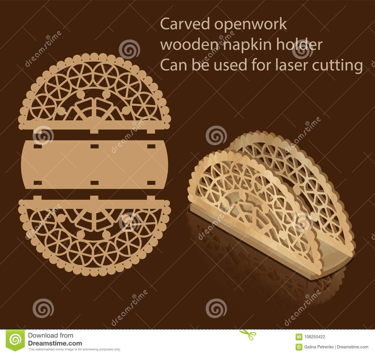 Carved Openwork Wooden Napkin Holder Can Be Used For Laser Cutting Stock Illustration Illustration Of Ornate Appliance 108250422