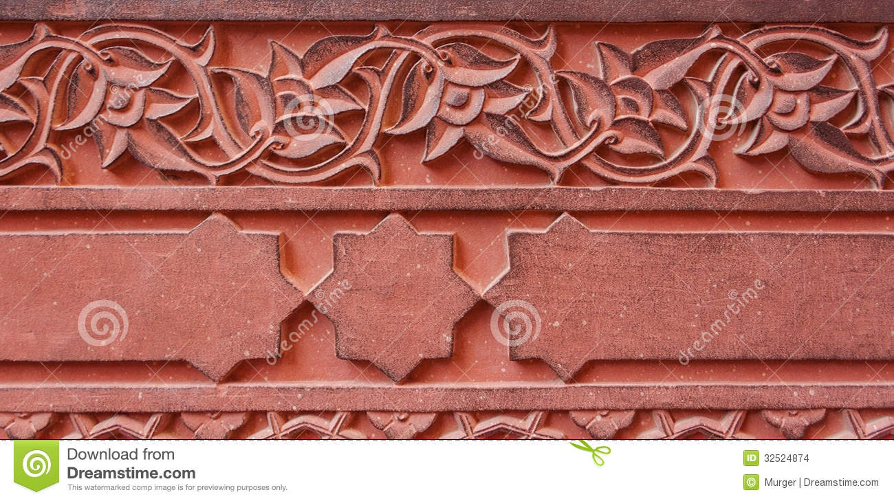 Carved ornament architecture detail of the red fort agra