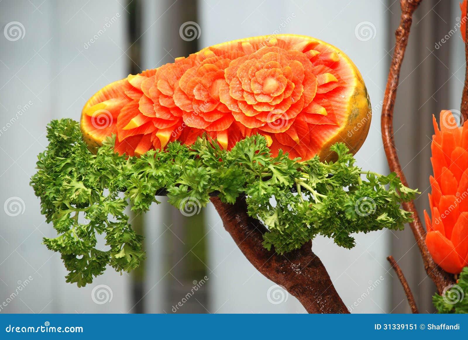 Carved papaya fruit stock image image of nobody fresh for Decoupe fruit decoration