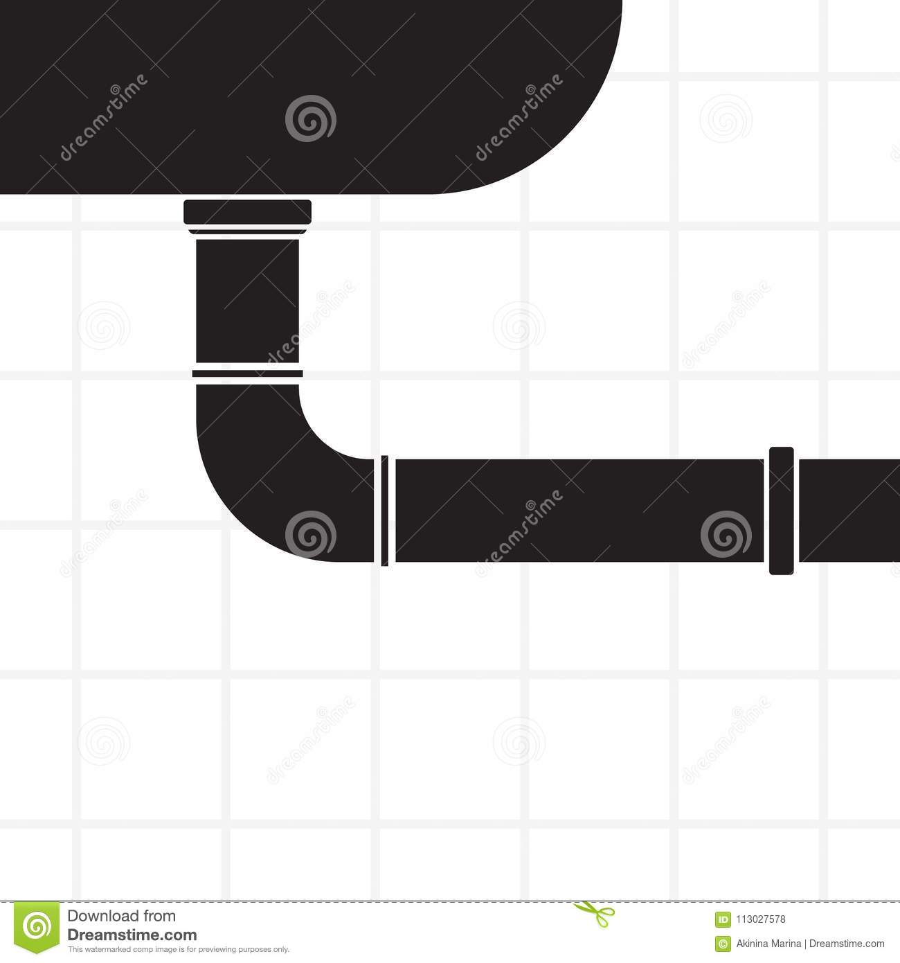 Carved Silhouette Flat Background Simple Vector Design Sink An Kitchen Water Line Plumbing Diagram And Pipe Illustration For Sanitary Engineering Repairs In House Bathroom Symbol Of Sewerage