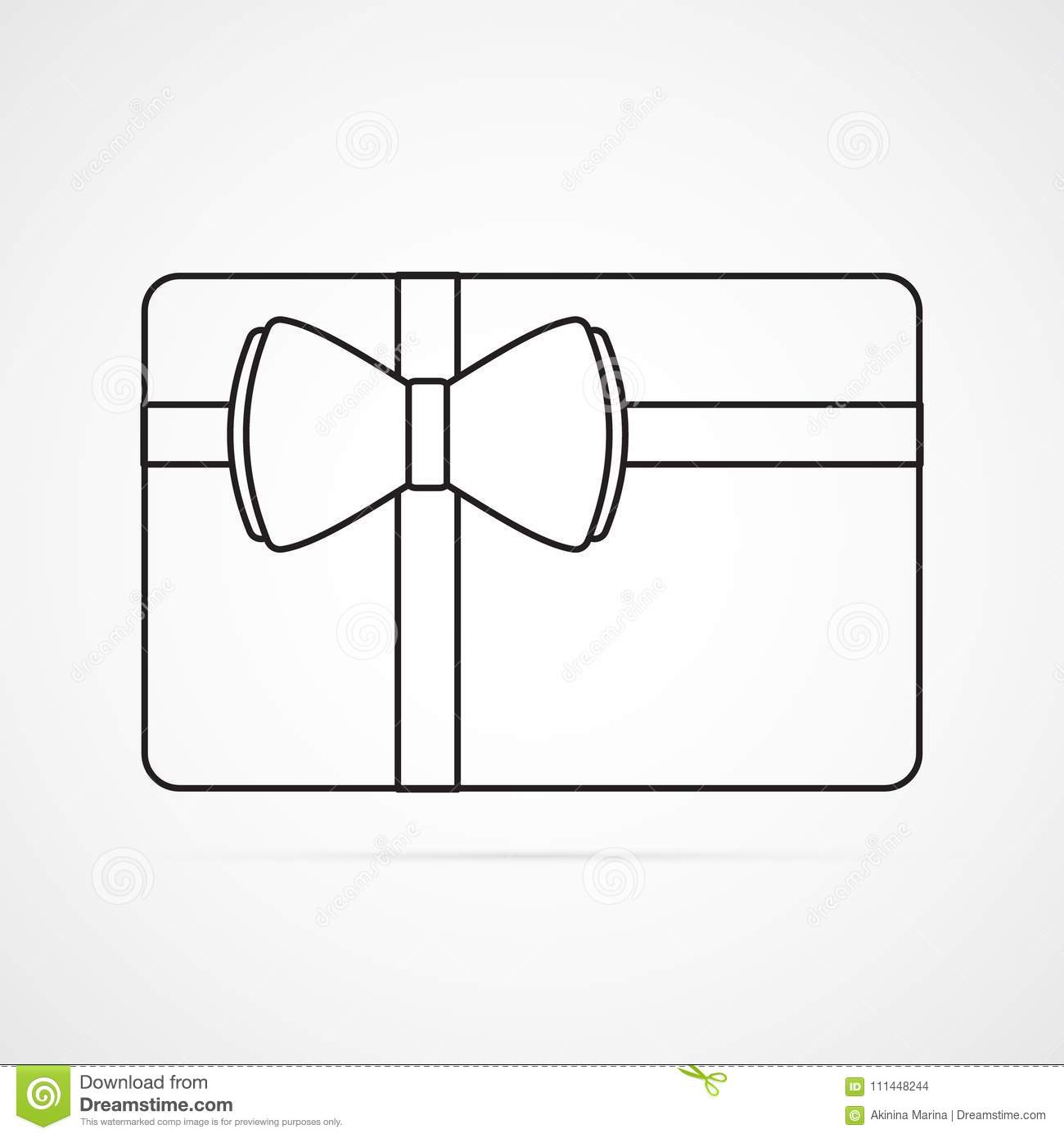 Carved silhouette flat icon, simple vector design. Rectangle card with bow