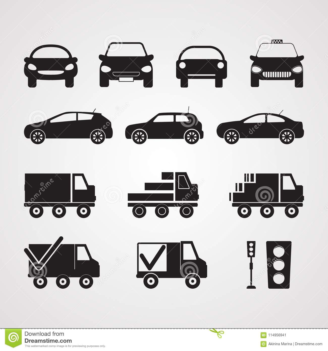 Carved silhouette flat icons, vector. Set of different cars in p
