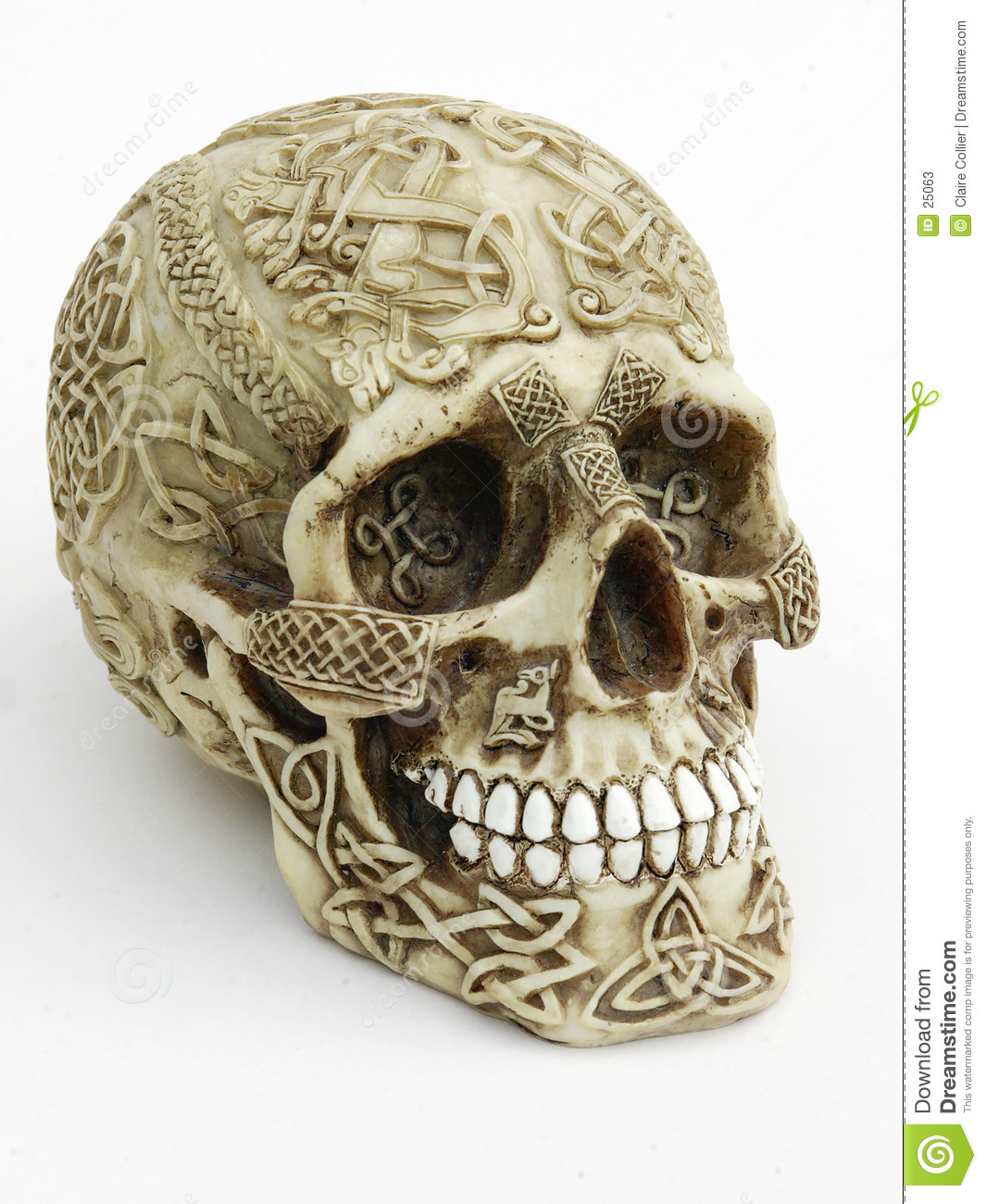 Carved skull stock image of ancient pagan