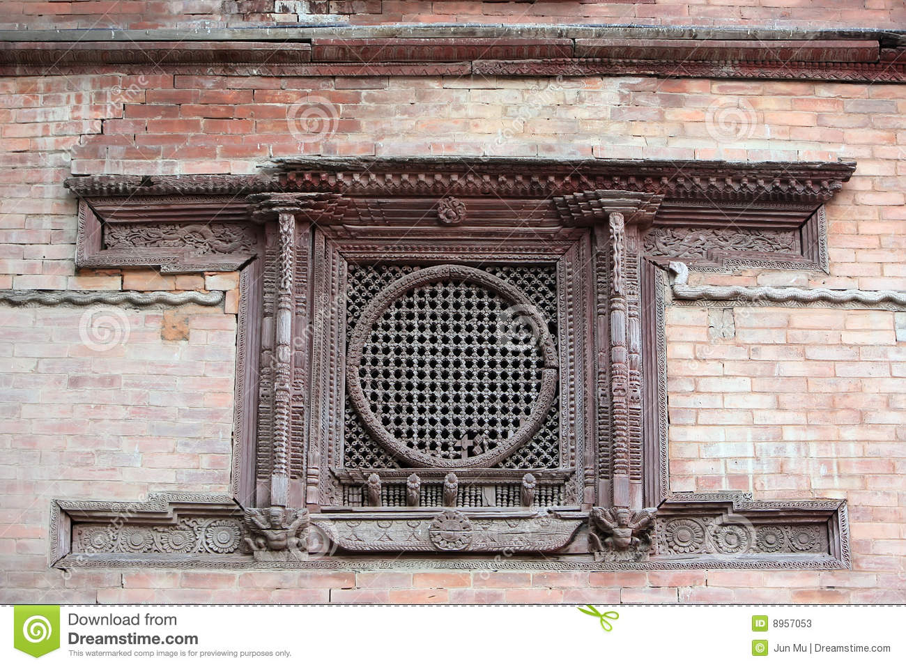 Carved window stock photos image 8957053 for Window design in nepal