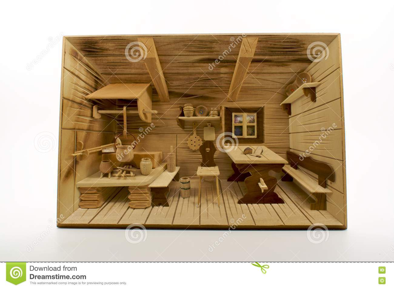 Carved Wood 3d Old German Country Kitchen Scene Stock Images Image 8384664
