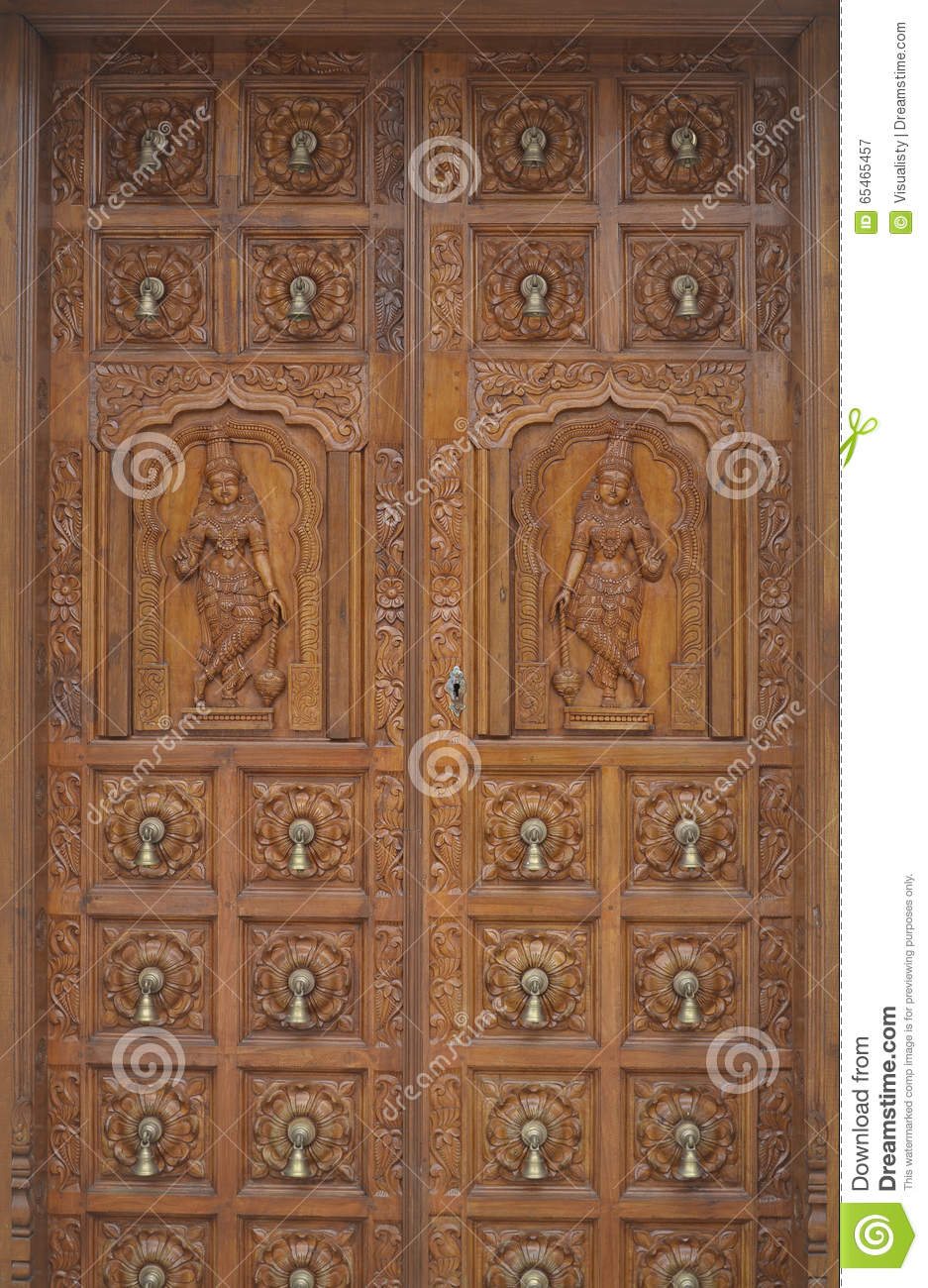 Carved Wood Hindu Temple Door Stock Image Image Of