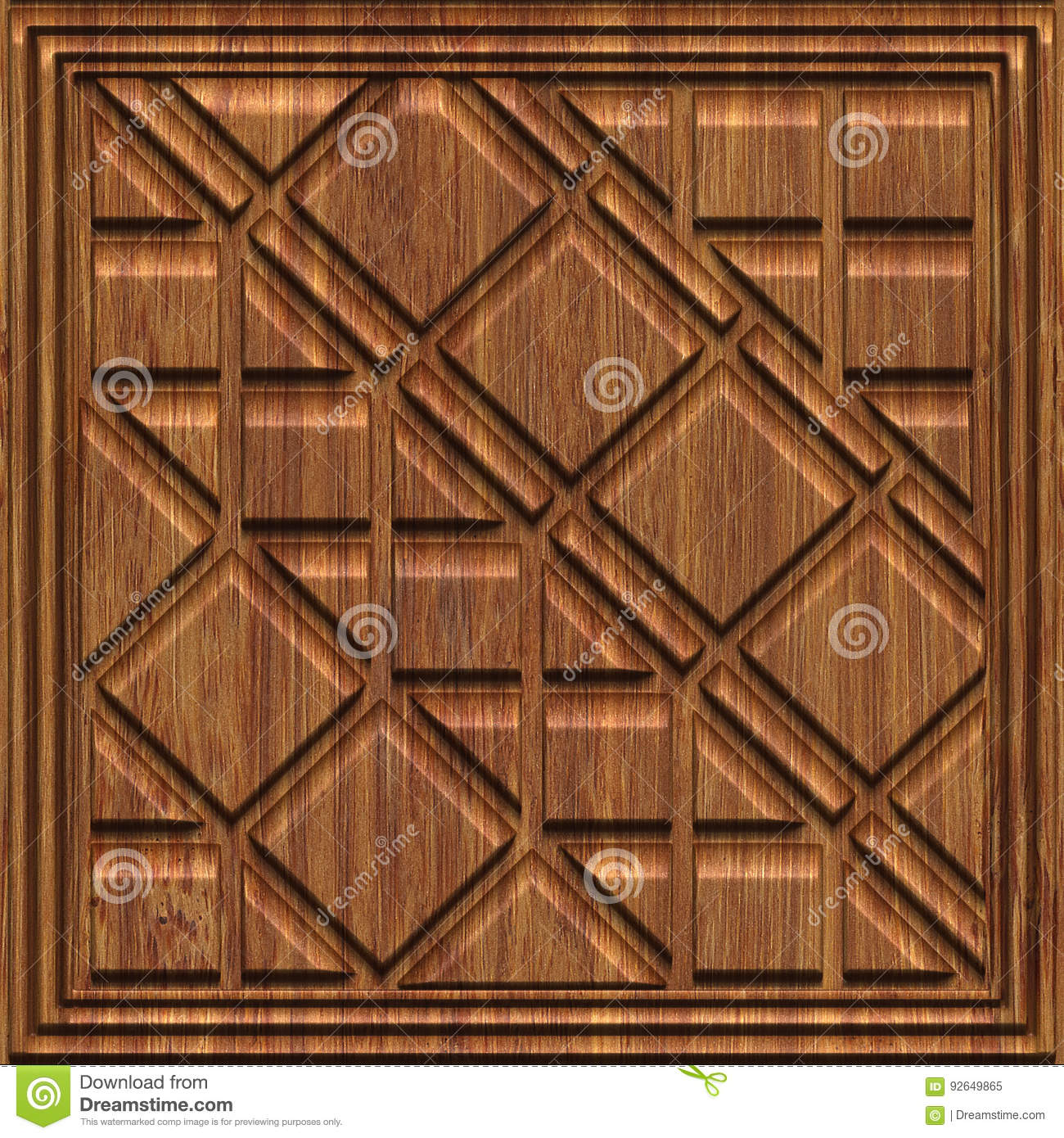 Carved Pattern On Wood Panel Seamless Texture