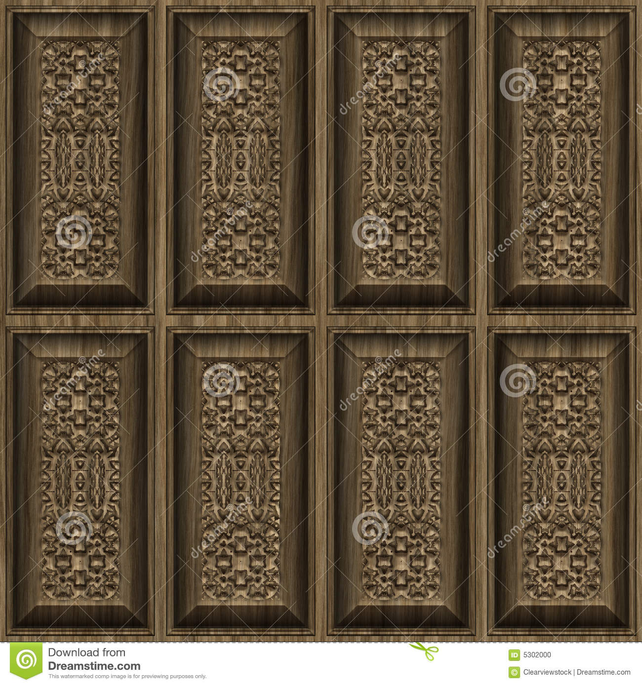 Carved wood panels stock vector illustration of