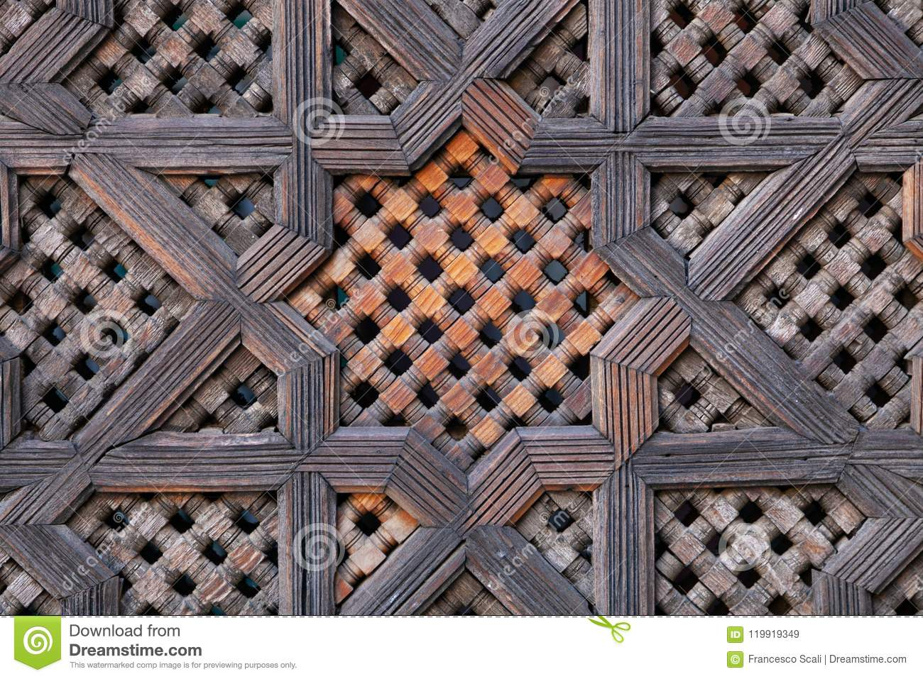Carved wood screen in Morocco