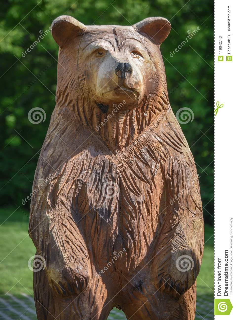Carved Wooden Bear Milwaukee Public Zoo Editorial Stock Photo