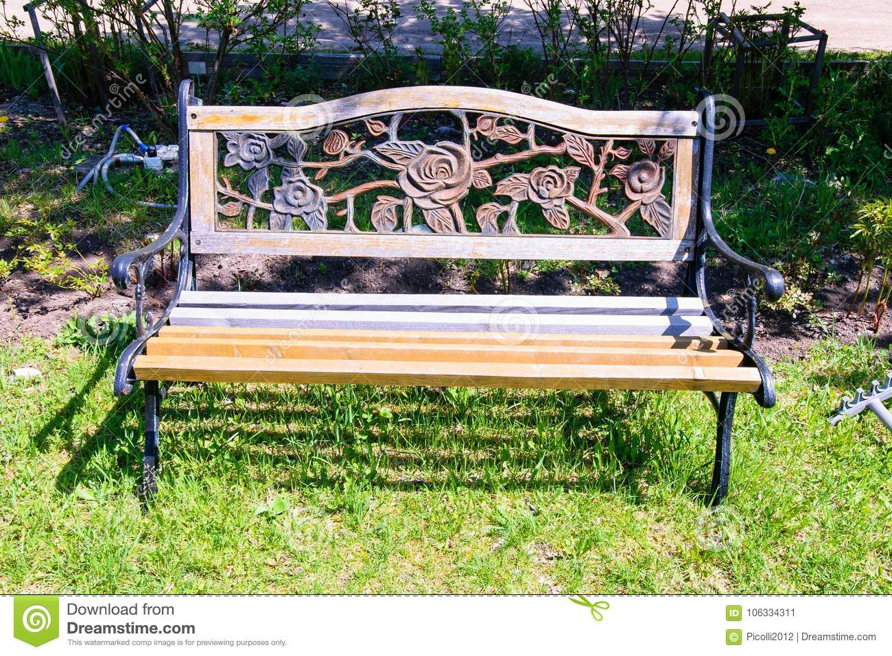 Admirable Carved Wooden Bench In The Garden In The Summer Stock Image Creativecarmelina Interior Chair Design Creativecarmelinacom