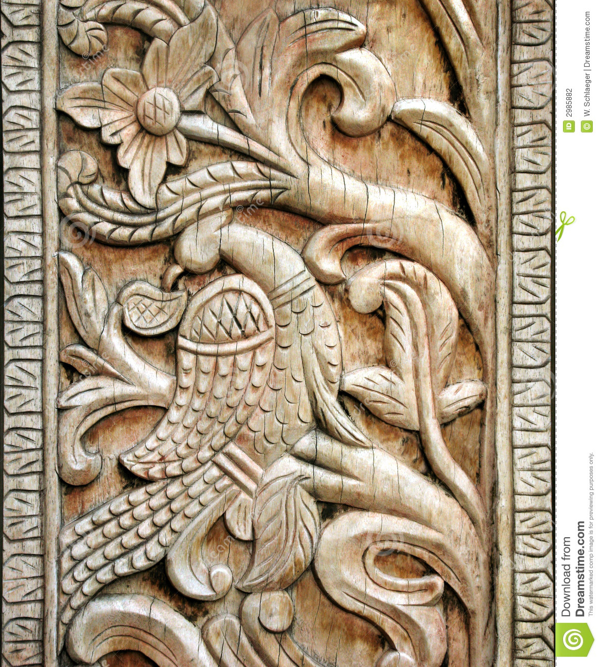 Carved Wooden Bird Detail Stock Photo Image Of Antique