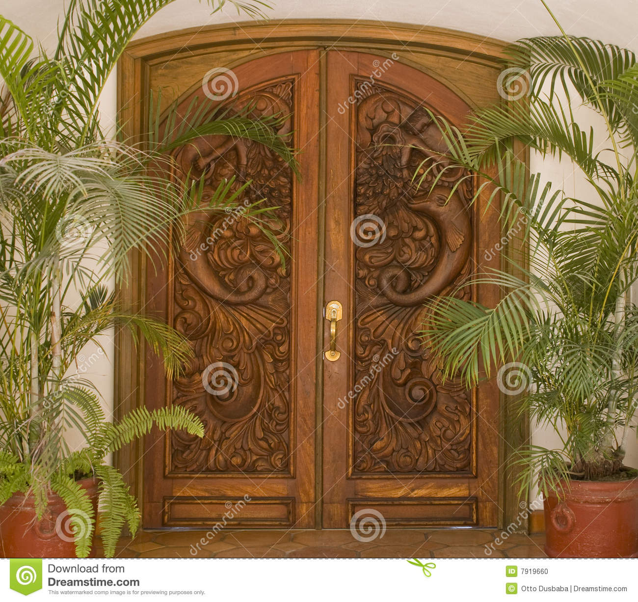 Carved wooden door stock photo image of portal made for Wood carving doors hd images
