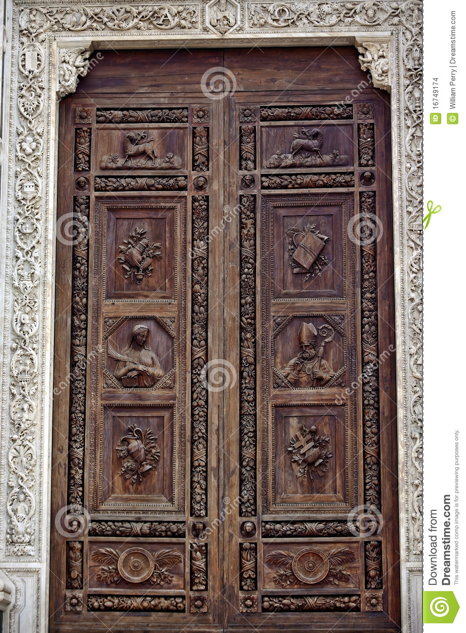 Carved wooden door santa croce cathedral florence stock