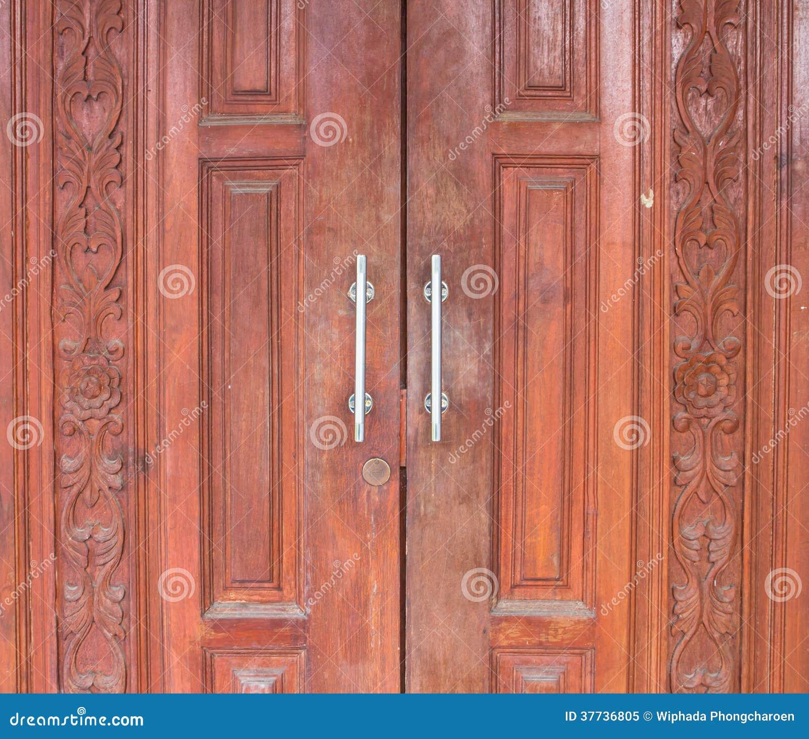 Carved Wooden Door Thai Design Craft Stock Image Image Of