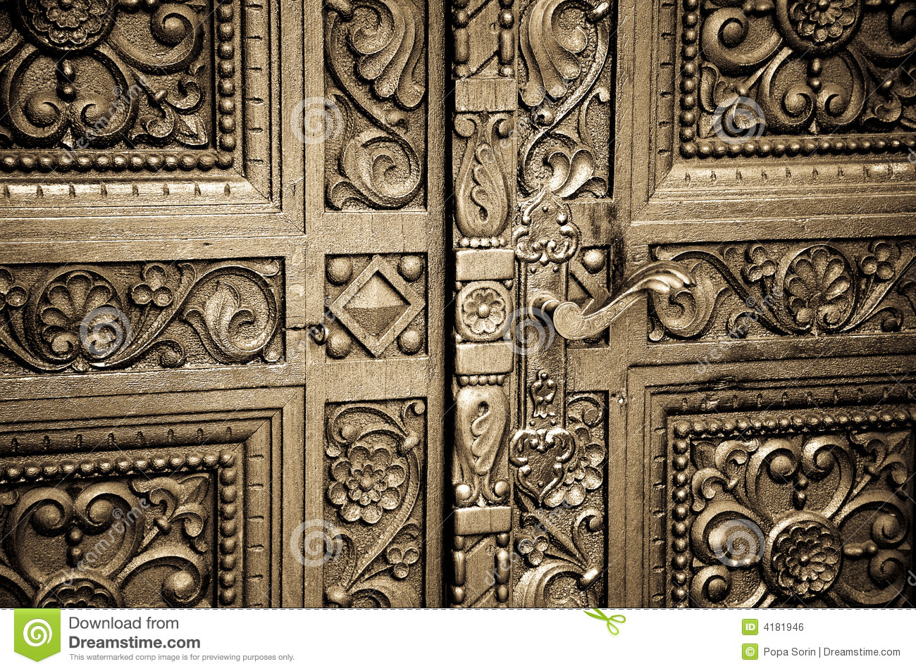 Carved wooden doors stock photo image of alexander for Wood carving doors hd images