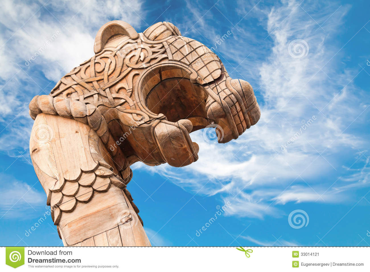 Carved Wooden Dragon On The Bow Of Viking Ship Stock Image ...