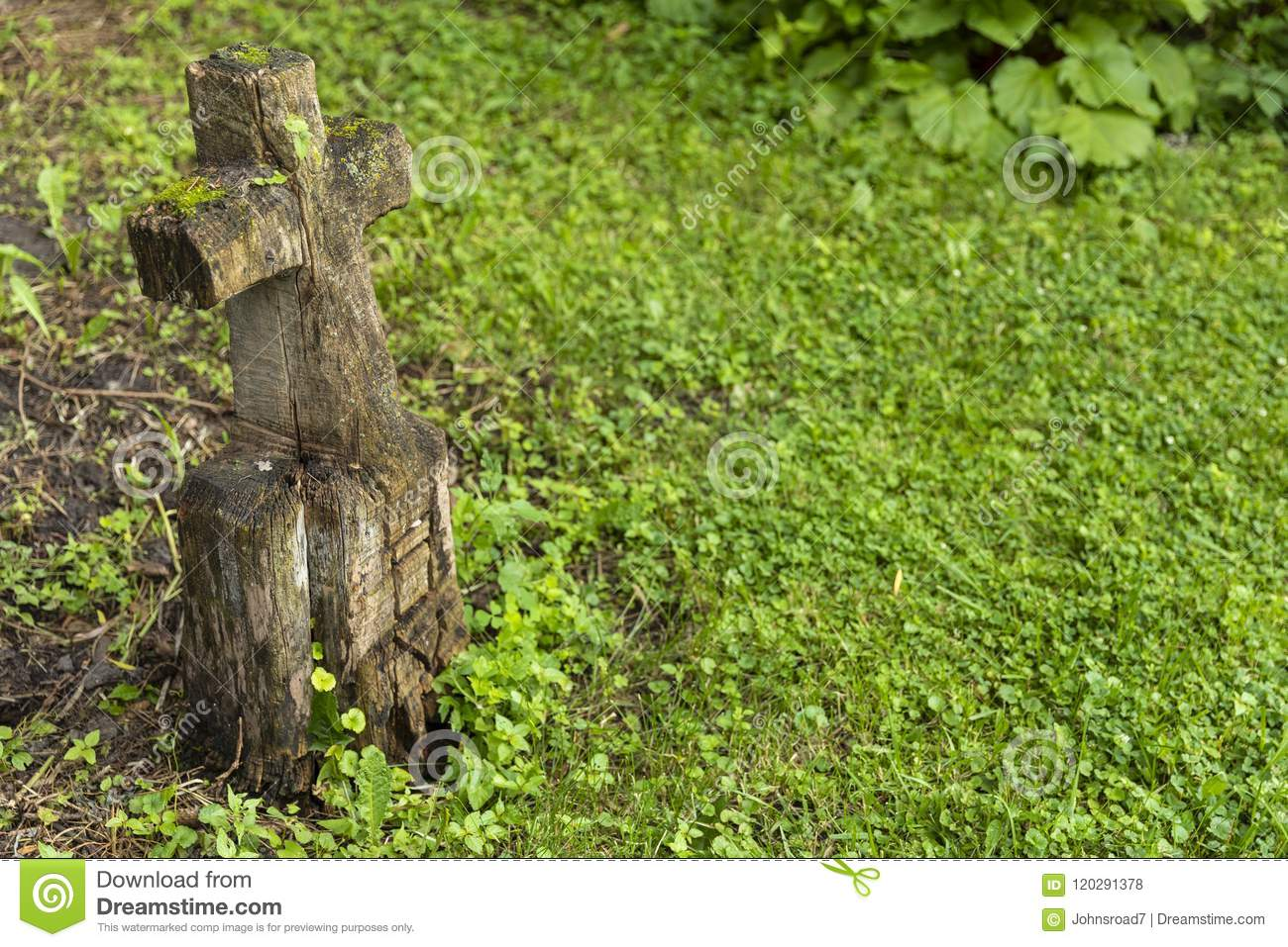 Carved Wooden Grave Marker Stock Photo Image Of Backyard 120291378