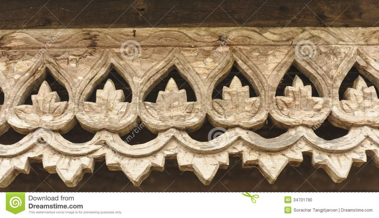 Carved Wooden Lattice Work With Thai Style Pattern Art