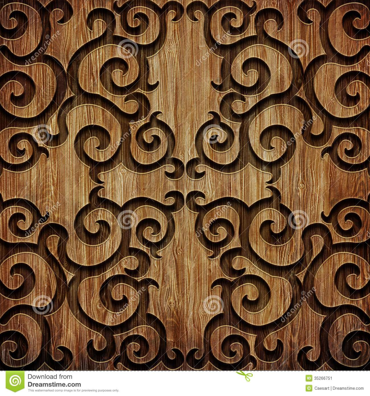 Carved Wooden Pattern Stock Image Image 35266751