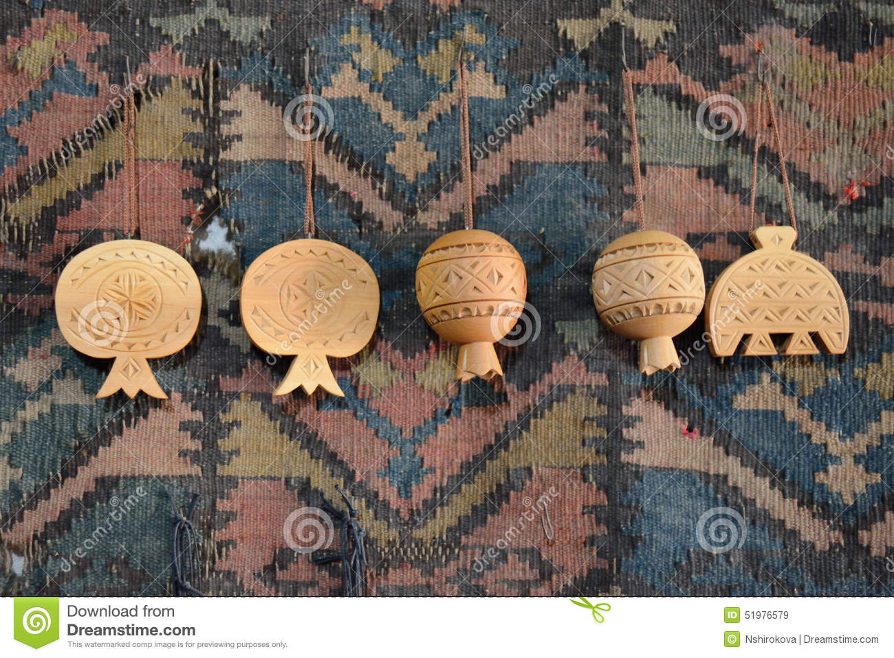 Carved Wooden Pomegranate Stock Image Image Of Hang 51976579